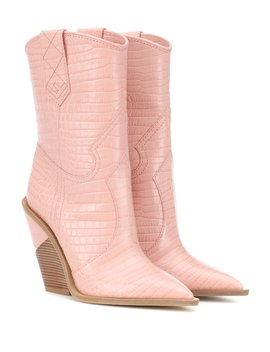 Embossed Leather Cowboy Boots In Baby Pink by Fendi