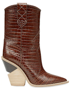 Cutout Heel Crocodile Embossed Leather Ankle Boots In Brown by Fendi