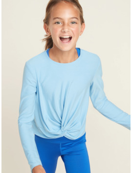 Relaxed Go Dry Knotted Hem Top For Girls by Old Navy