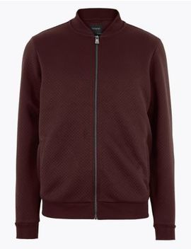 Supima® Cotton Jacquard Baseball Jacket by Marks & Spencer