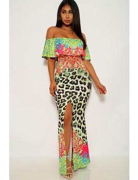 Lime Leopard Print Off The Shoulder Maxi Dress by Ami Clubwear