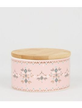 Pale Pink Tile Print Bamboo Lid Pot by New Look
