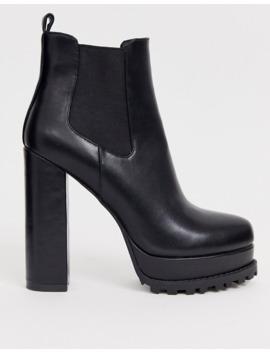Simmi London – Aura – Schwarze Chelsea Stiefel Mit Dicker Plateausohle by Asos
