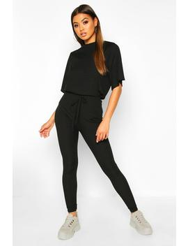 Rib T Shirt And Legging Co Ord by Boohoo