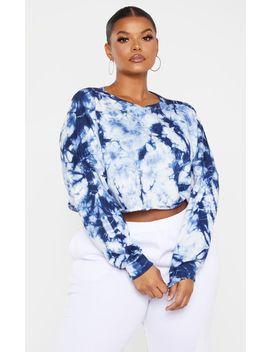 Plus Navy Grey Tie Dye Crop Sweater by Prettylittlething