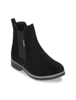 Men Black Solid Synthetic Suede Mid Top Chelsea Boots by Fentacia