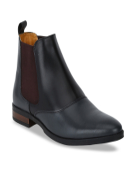 Men Grey & Black Colourblocked Leather High Top Chelsea Boots by Del Mondo
