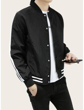 Men Side Stripe Bomber Jacket by Sheinside