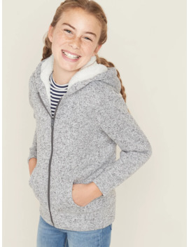 Sherpa Lined Sweater Fleece Zip Hoodie For Girls by Old Navy