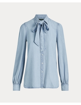 Chambray Tie Neck Shirt by Ralph Lauren