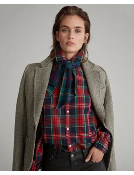 Plaid Necktie Cotton Shirt by Ralph Lauren