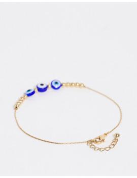 Asos Design   Lot De 3 Bracelets De Cheville Avec Chaîne Sertie De Strass Et Breloques Disque œil   Doré by Asos Design