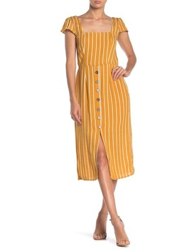 Striped Open Back Midi Dress by Row A
