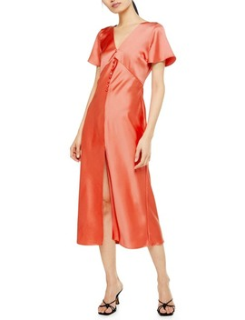 Angel Sleeve Bias Cut Satin Midi Dress by Topshop