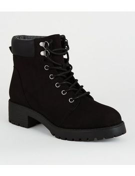 Girls Black Suedette Lace Up Boots by New Look
