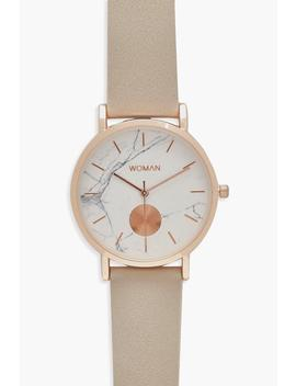 Pu Strap Marble Face Watch by Boohoo