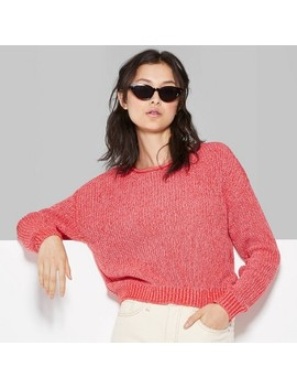 Women's Rolled Crewneck Sweater   Wild Fable™ Red by Wild Fable