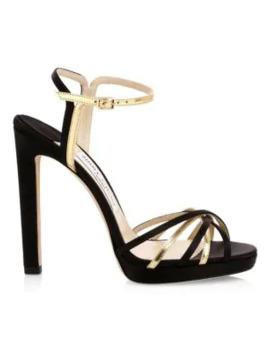 Lilah Platform Metallic Sandals by Jimmy Choo