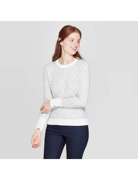Women's Leopard Print Long Sleeve Rib Knit Cuff Crewneck Pullover Sweater   A New Day™ Heather Gray by A New Day