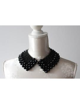 Black Collar Necklace With Pearls Pointed Shape Detachable Beaded Collar Beads Removeable Accessories For Women Peter Pan Collar Classic by Etsy