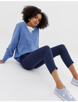 Monki – Blauer Pullover Mit V Ausschnitt by Asos