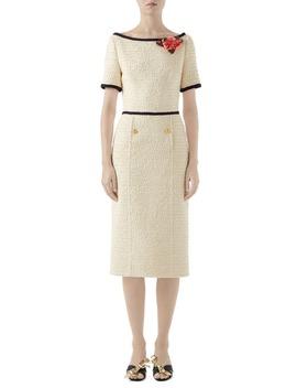 Floral Appliqué Bouclé Tweed Midi Sheath Dress by Gucci