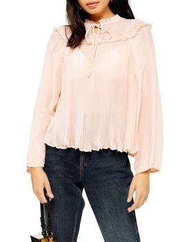 Ruffle Pleat Chiffon Blouse by Topshop