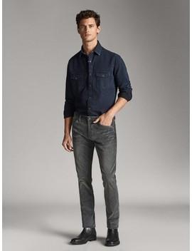slim-fit-corduroy-denim-like-trousers by massimo-dutti