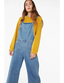 Cropped Denim Dungarees by Monki