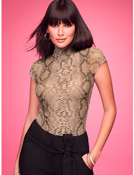 Snake Print Mock Neck Top   Sweet Pea by New York & Company
