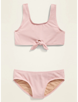 Textured Tie Front Bikini For Girls by Old Navy