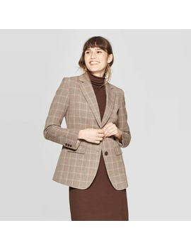 Women's Plaid Long Sleeve Button Front Bi Stretch Twill Blazer   A New Day™ Brown by A New Day