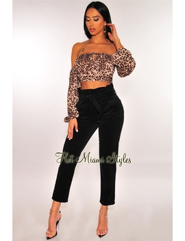 Black Corduroy High Waist Paperbag Belted Pants by Hot Miami Style