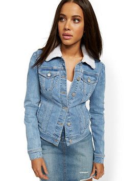 Sherpa Lined Denim Jacket   Lavish Blue by New York & Company