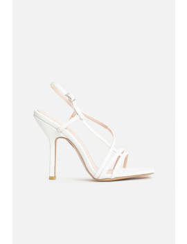 Josephine Strappy Buckle Heels In White Vegan Leather by Luxe To Kill