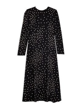black-mix-spot-piped-midi-dress by topshop