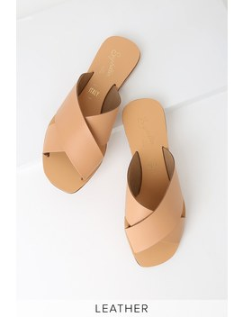 Total Relaxation Tan Vachetta Leather Slide Sandals by Seychelles