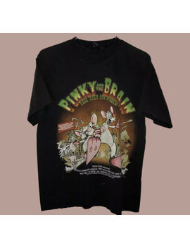 Vtg Rare Pinky And The Brain Cartoon Movie T Shirt Reprint Size S 2 Xl Reprint by Gildan