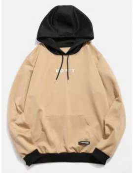 Contrast Color Letter Pocket Hoodie   Khaki M by Zaful