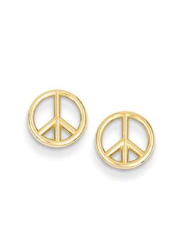 Peace Sign Stud Earrings In 14 K Gold by Zales