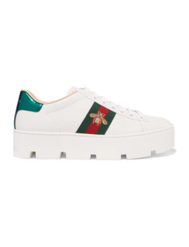 Baskets Plates Formes En Cuir à Broderies New Ace by Gucci