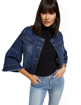 Bell Sleeve Denim Jacket   Blue Honey by New York & Company