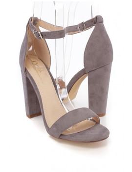 Light Grey Suede Open Toe One Strap Chunky High Heels by Ami Clubwear