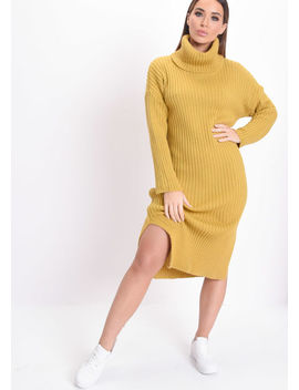 Knit Roll Neck Kinitted Side Split Midi Jumper Dress Mustard Yellow by Lily Lulu Fashion