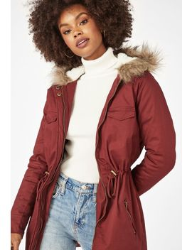 Fur Hoodie Parka Jacket by Justfab