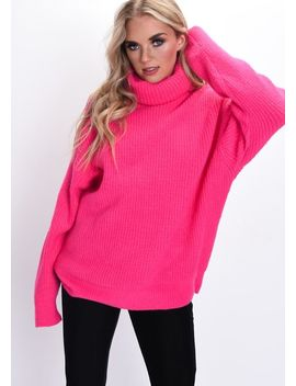 Oversized Neon Roll Neck Ribbed Knit Jumper Pink by Lily Lulu Fashion