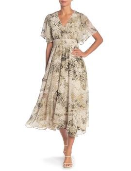 Flutter Sleeve Smock Dress by London Times