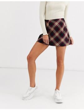Miss Selfridge Bias Cut Mini Skirt In Check by Miss Selfridge