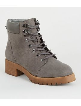 Girls Grey Suedette Lace Up Boots by New Look