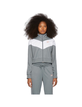 Grey & White Cropped Colorblocked Track Jacket by Nike
